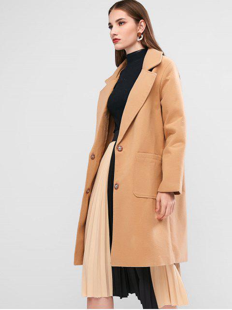 Manteau Long avec Poche en Laine Mélangée à Col Revers - Marron Camel M Mobile