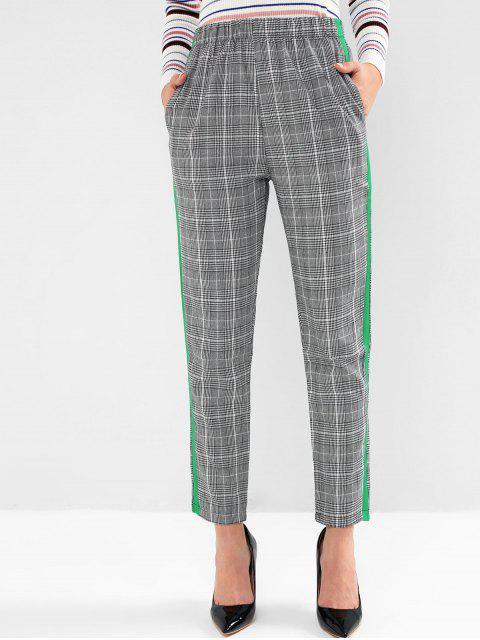 格紋對比側袋鉛筆褲 - 灰色 XL Mobile