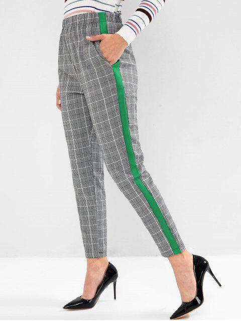 Karierte Kontrast Seitliche Taschen Bleistift Hosen - Grau XL Mobile