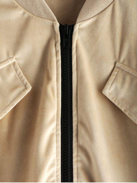 ZAFUL褶飾袖天鵝絨夾克 - 香檳金 XL Mobile