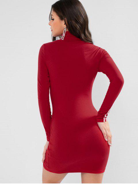 心臟條紋邊模擬領Bodycon連衣裙 - 紅 M Mobile