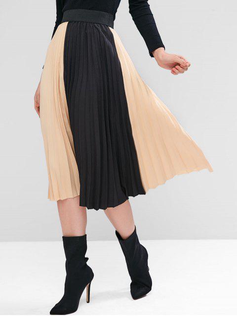 Colorblock百褶短裙迷笛 - 白杏仁 One Size Mobile
