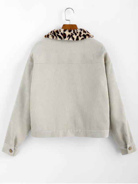 ZAFUL Shearling Leopard Kragen Künstliche Shearling Jacke - Hellgrün L Mobile