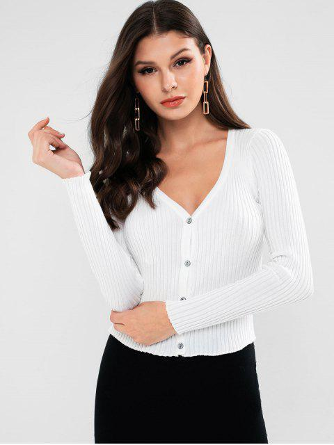 單排扣修身羅紋針織外套 - 白色 One Size Mobile