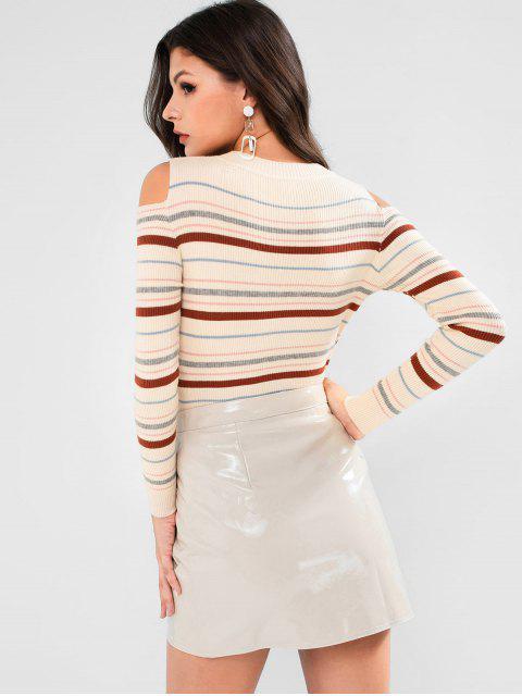 Gestreifter Schmaler Gerippter Pullover mit Kalter Schulter - Beige Eine Größe Mobile
