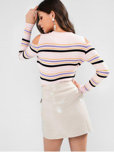 Gestreifter Schmaler Gerippter Pullover mit Kalter Schulter - Pink Eine Größe Mobile