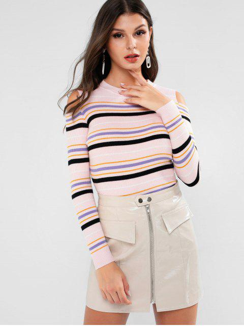 unique Striped Cold Shoulder Slim Ribbed Sweater - PINK ONE SIZE Mobile