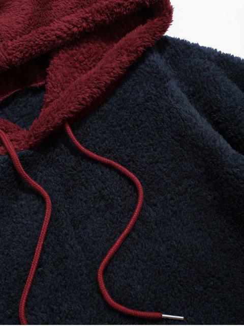 Sweat à Capuche Fourré en Blocs de Couleurs Jointif à Cordon - Rouge XL Mobile