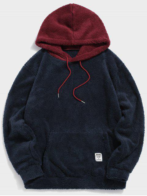 sale Colorblock Splicing Drawstring Fluffy Hoodie - RED S Mobile