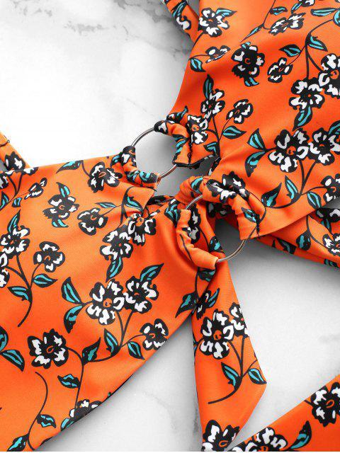 ZAFUL花卉打結O形環比基尼泳裝 - 橙子 S Mobile