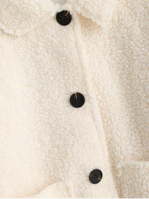修補口袋固體按鈕向上泰迪夾克 - 白色 M Mobile