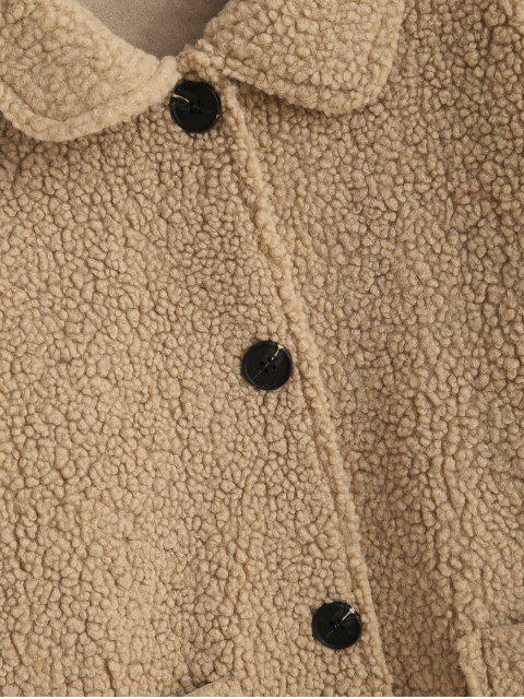 修補口袋固體按鈕向上泰迪夾克 - 駱駝棕色 M Mobile