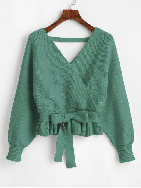 sale Plunging Batwing Sleeve Peplum Belted Sweater - GREEN ONE SIZE Mobile