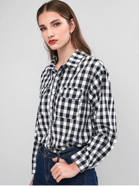 new Plaid Button Up Chest Pocket Shirt - MULTI M Mobile
