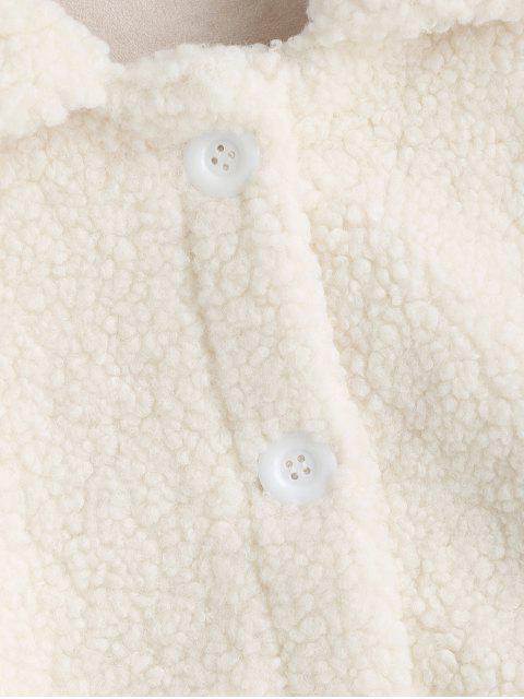 固體修補的口袋按鈕向上泰迪夾克 - 白色 L Mobile