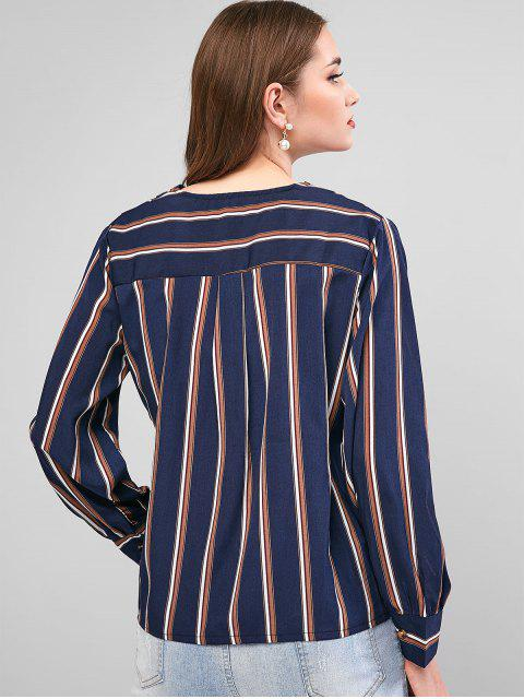 unique Striped Surplice Long Sleeve Blouse - DEEP BLUE M Mobile