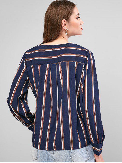 womens Striped Surplice Long Sleeve Blouse - DEEP BLUE L Mobile