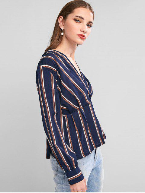 fashion Striped Surplice Long Sleeve Blouse - DEEP BLUE S Mobile