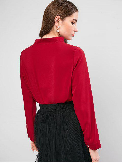 fashion Bow Tie Crew Neck Long Sleeve Blouse - RED WINE XS Mobile