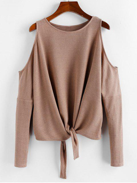 sale ZAFUL Front Knot Open Shoulder Sweater - TAN XL Mobile