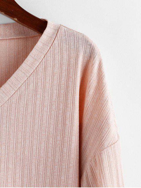 lady ZAFUL Lantern Sleeve Drop Shoulder Knitwear - ROSE S Mobile