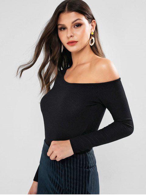 fashion ZAFUL Skew Neck Solid Long Sleeves Tee - BLACK L Mobile