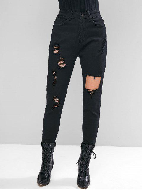 outfits Ripped Zipper Fly Skinny Jeans - BLACK S Mobile