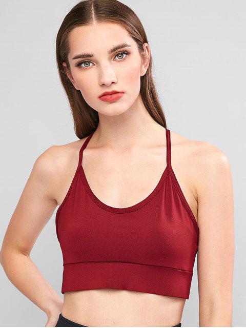fashion Lattice Strappy Bralette Sport Bra - RED WINE M Mobile