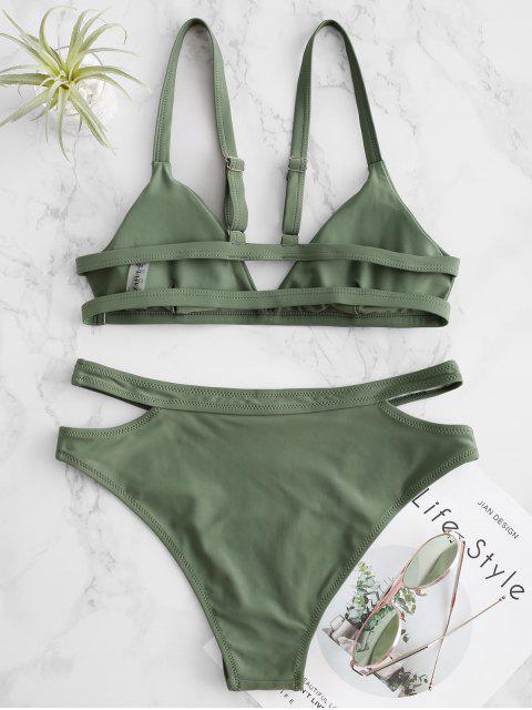 latest ZAFUL Cutout High Cut Padded Bikini Swimsuit - SEA GREEN M Mobile