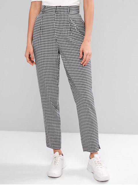 trendy Zipper Fly Gingham Slits Pants - BLACK M Mobile