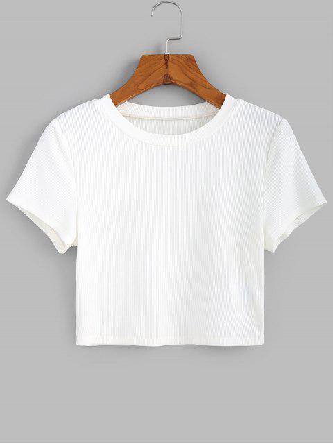 ZAFULリブ半袖クロップTシャツ - ミルクホワイト L Mobile