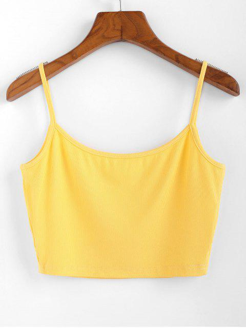 ZAFUL Camiseta com Nervuras Entalhado em V Cortado - Amarelo do Sol XL Mobile