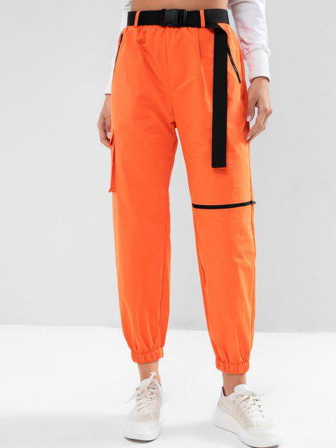lady ZAFUL Zipper Pockets Belted Windbreaker Jogger Pants - PUMPKIN ORANGE S Mobile