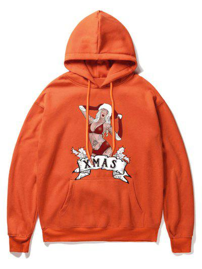 Christmas Cartoon Printed Pocket Hoodie - Orange 2xl