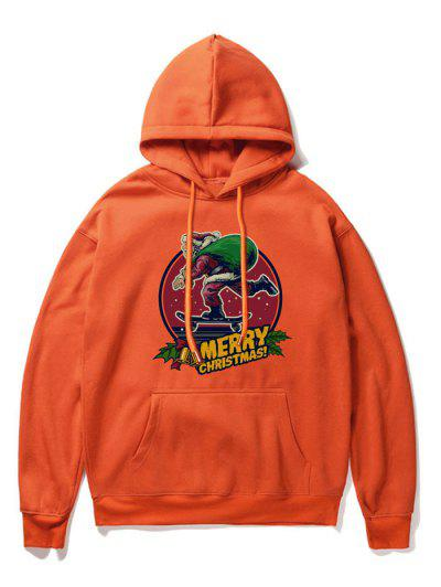 Santa Claus Letter Print Drawstring Hoodie - Orange 2xl