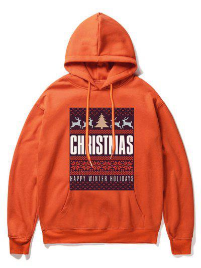 Snowflake Letter Printed Christmas Hoodie - Orange 2xl