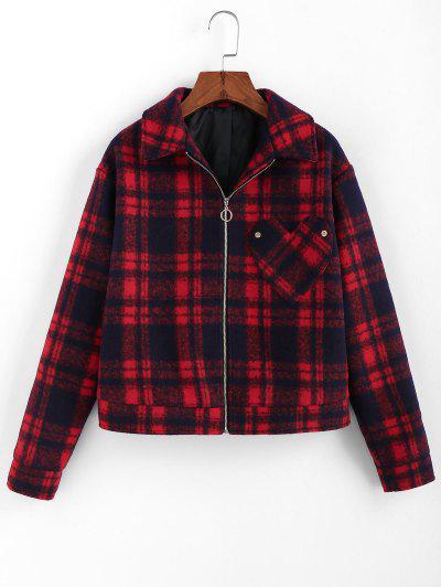 ZAFUL Plaid Heart Pocket Pull Ring Zip Jacket - Red Wine Xl