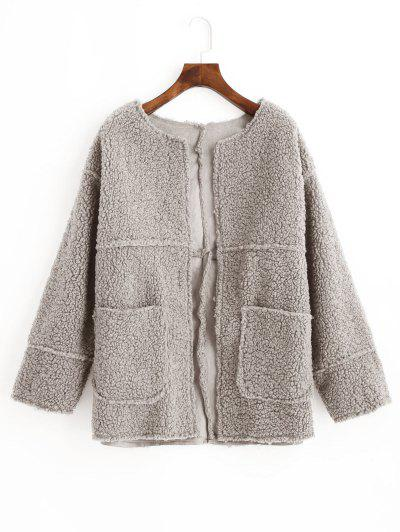 Open Front Solid Patched Pockets Teddy Jacket - Gray M