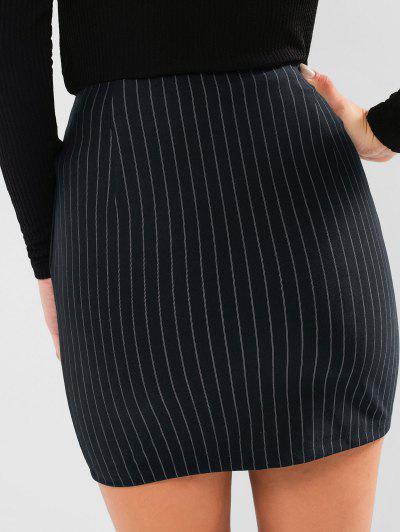 ZAFUL Striped Slit Bodycon Skirt, Cadetblue