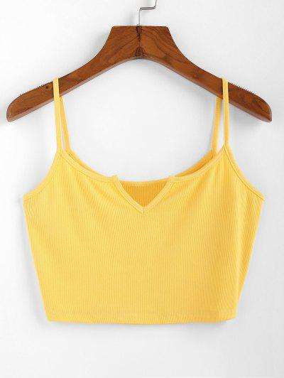 ZAFUL V Notched Ribbed Crop Camisole - Sun Yellow L