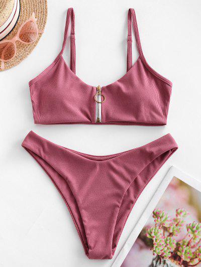 ZAFUL Ribbed Ring Zip Up Bikini Swimsuit - Pink Rose M