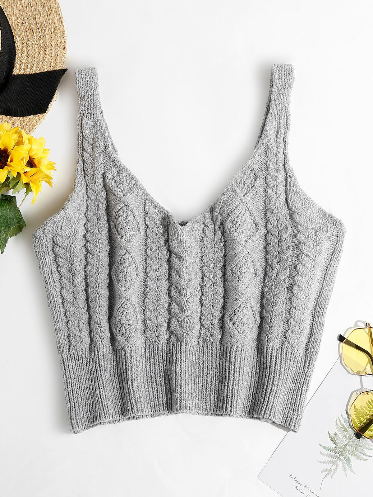 ZAFUL Cable Braided Knit Crop Sweater Tank Top