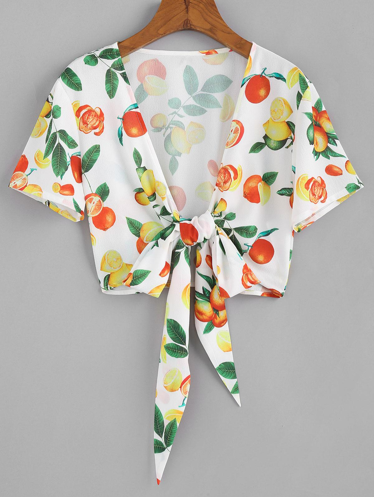 ZAFUL Orange Print Tie Front Plunging Blouse