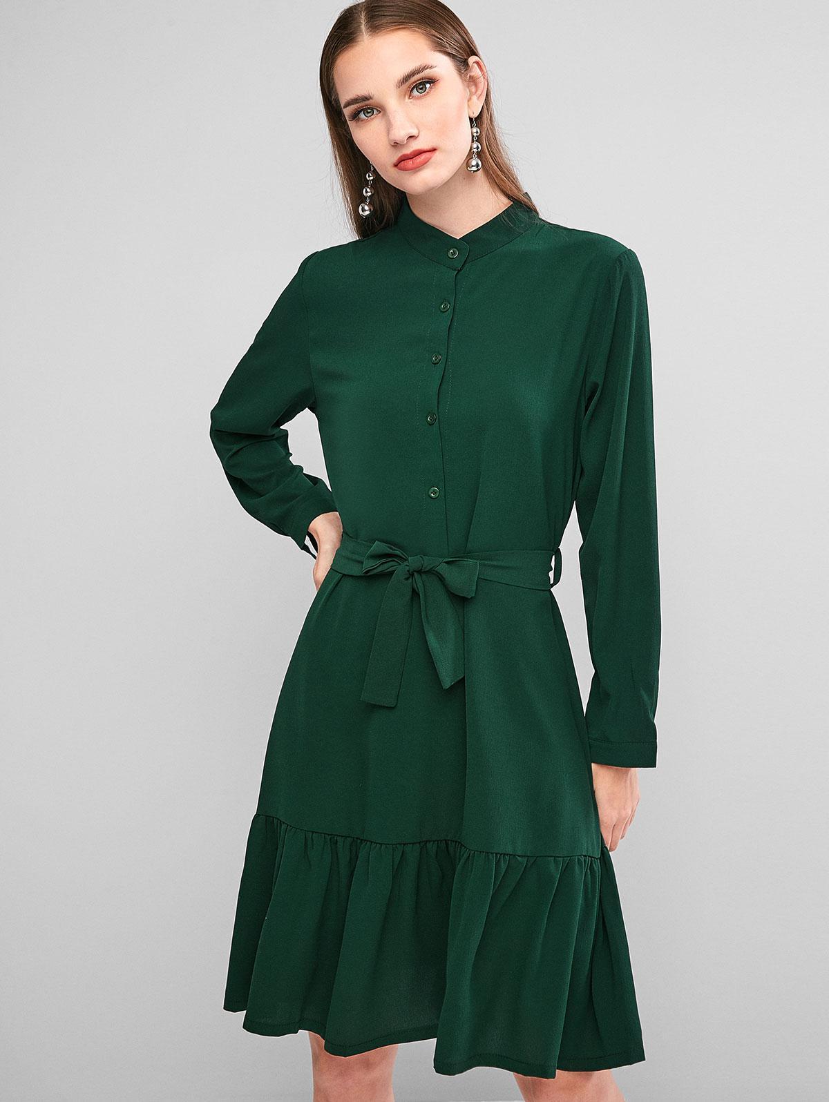 Button Placket Flounce Hem Belted Dress