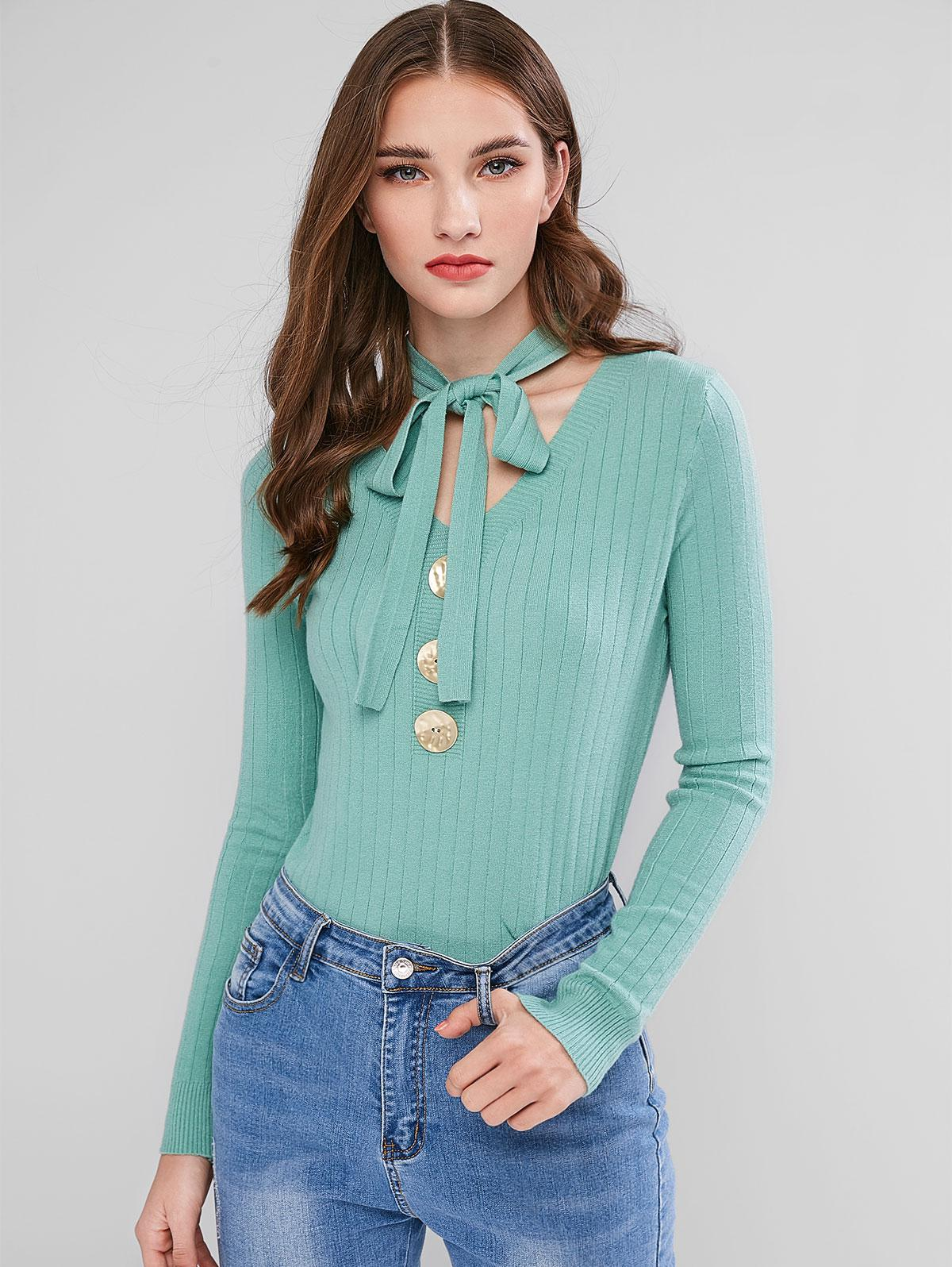 Bow Tie V Neck Mock Button Sweater