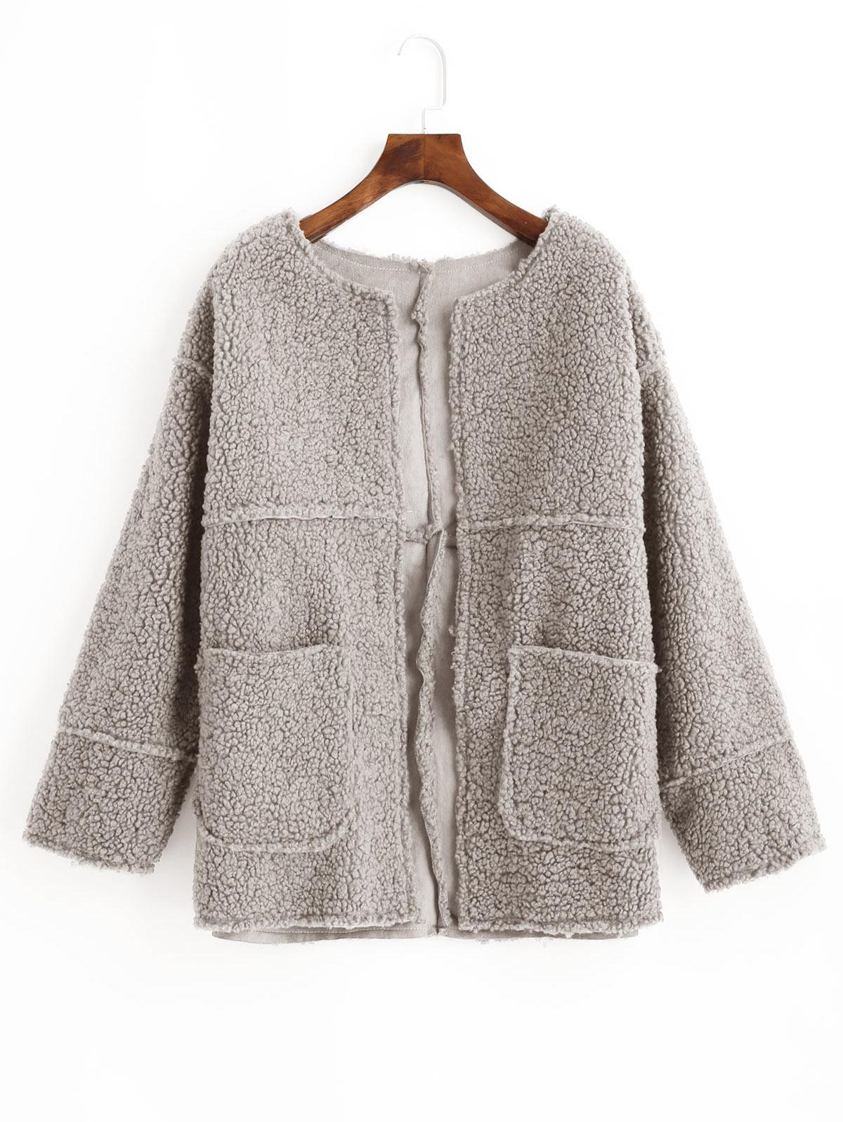 Open Front Solid Patched Pockets Teddy Jacket