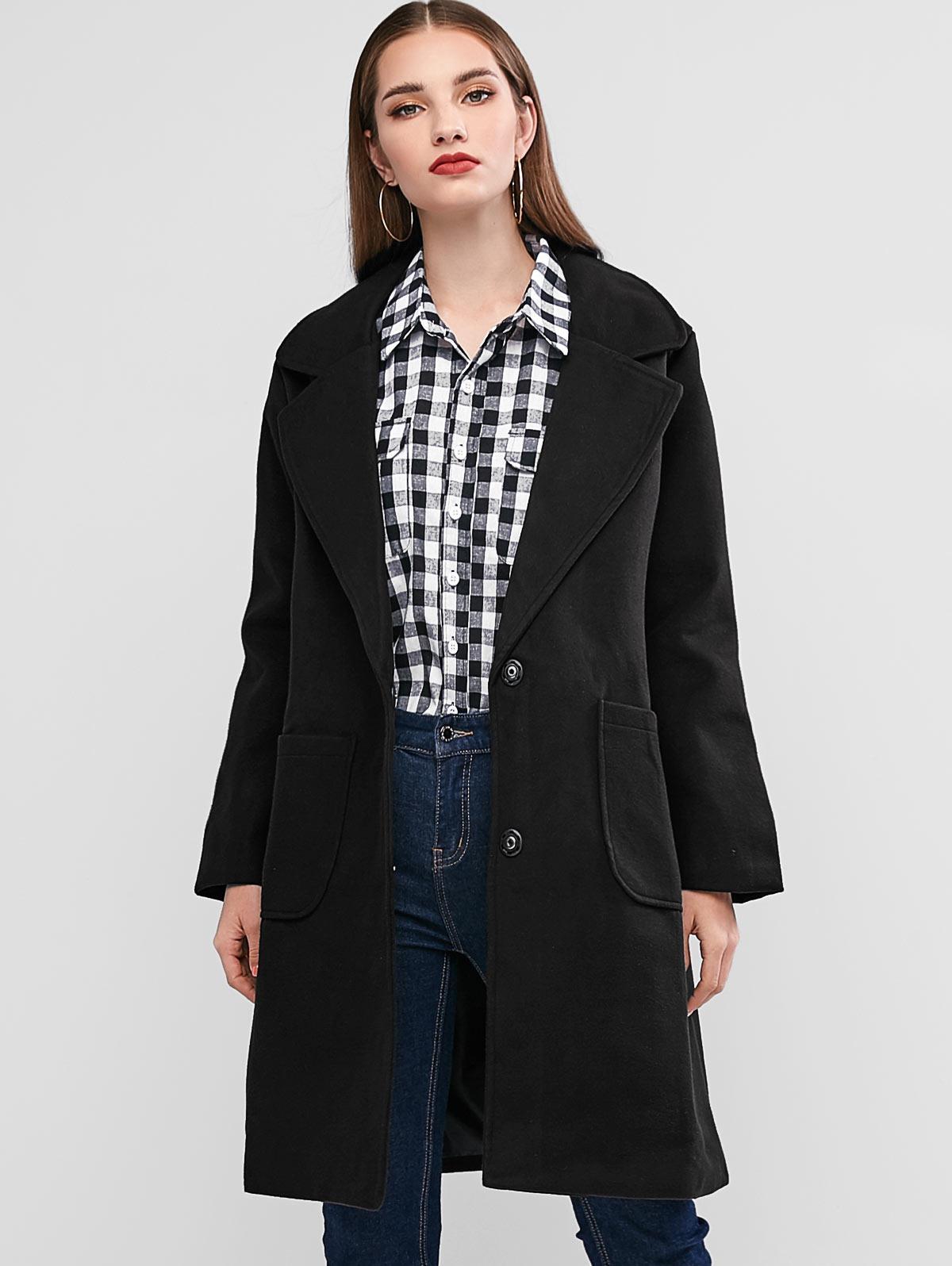 Wool Blend Lapel Pocket Longline Coat