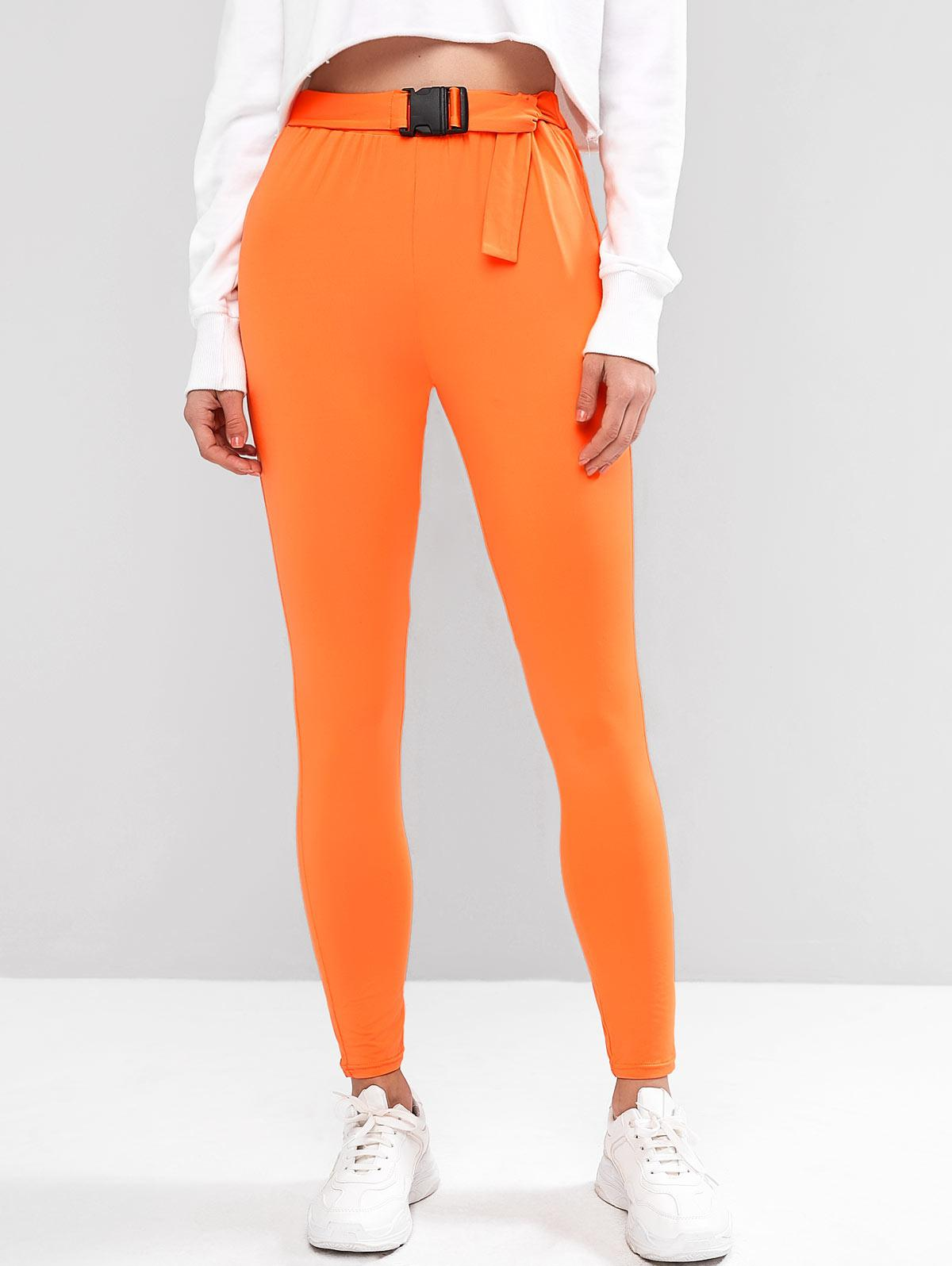 ZAFUL High Waisted Buckle Stretchy Leggings
