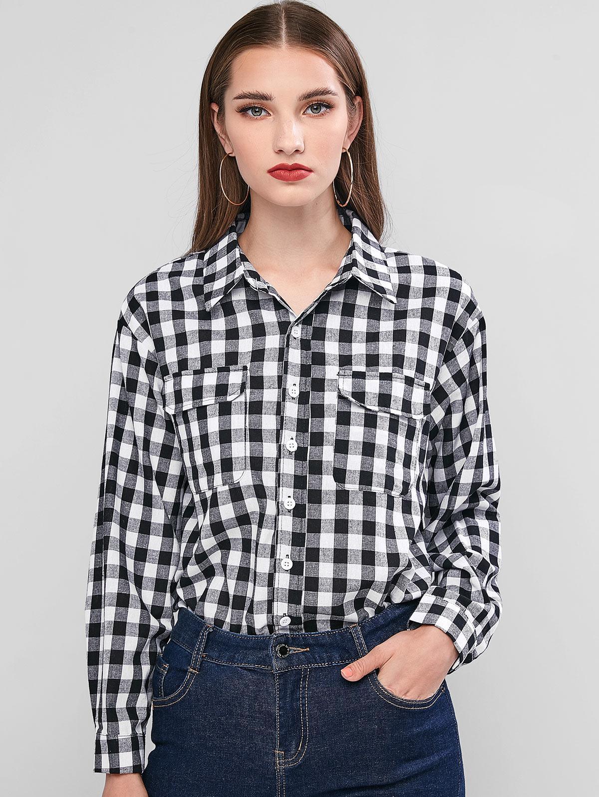 Plaid Button Up Chest Pocket Shirt фото