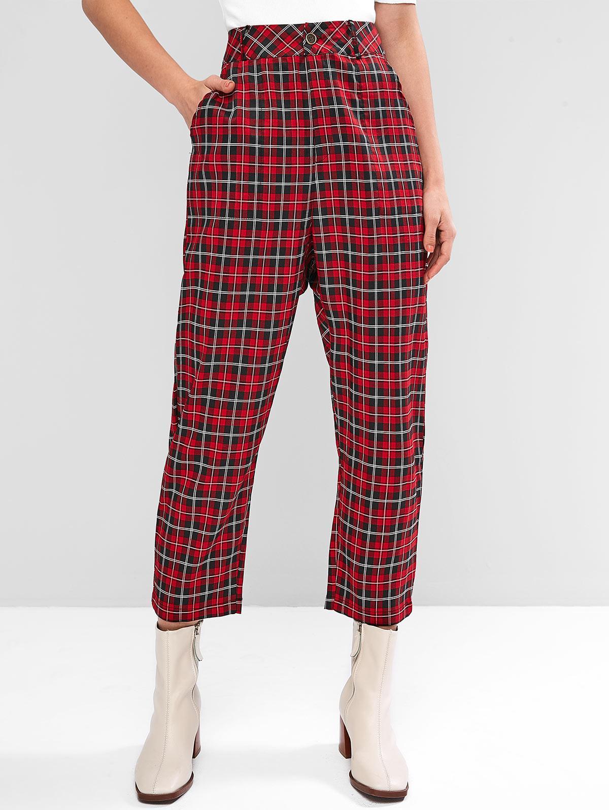 High Waisted Plaid Pants with Pockets